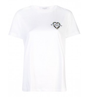 Givenchy Womans White Cotton T-Shirt With Metal Insert